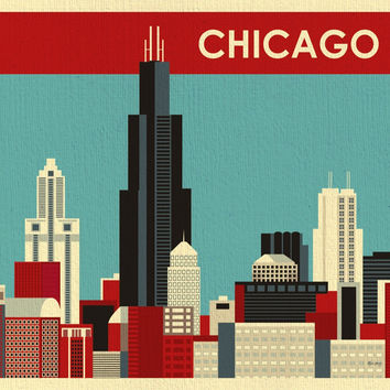 Chicago, Illinois - Red Stripe Skyline