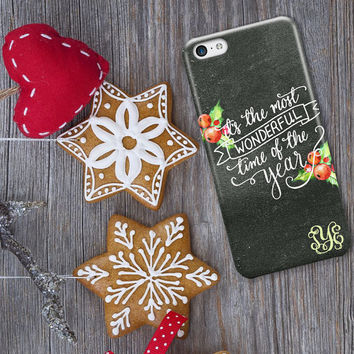 Christmas Iphone 6 Plus case - Chalkboard w holly, berries - Its the most wonderful time of the year - Xmas Iphone 6s case (1605)