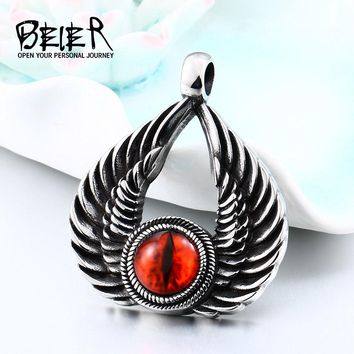 BEIER Punk Stainless Steel Winged with Evil Red eye Feather Pendant Necklace For Man women Vintage Left Jewelry BP8-346