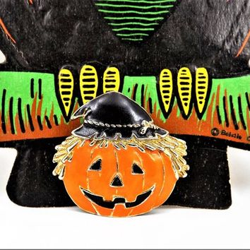 Jack O Lantern Halloween Pin, Smiling, Pumpkin Holiday Jewelry, Vintage Halloween Pins