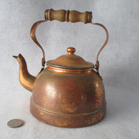 Copper Plated Tea Kettle, Vintage, 1 Quart, 1 Liter, Complete, TAGUS Made in Portugal