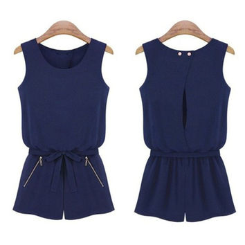Jumpsuit Women Sleeveless Bowknot  Romper
