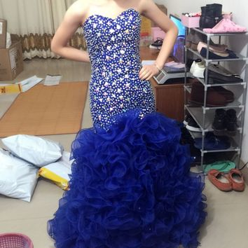 Sparkle Sweetheart Royal Blue Mermaid Prom Evening Dresses 2017 Beaded Sequin Back Corset Long Party Gowns Robe De Soiree P124