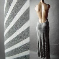 Gray White Diagonal Stripe Open Back Backless Lounge Long Maxi 32 mv Dress S M L