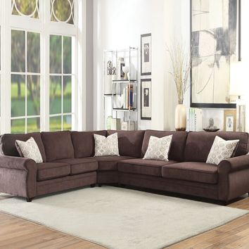 Acme 53375 Randolph chocolate chenille fabric pull out sleeper sectional sofa