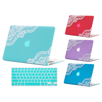 Lovely Lace Design Matte Case Cover For Apple MacBook Air 11 13 Pro Retina 13 15 New 12 inch Hard Shell+Keyboard Cover