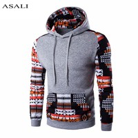Men Hoodies Patchwork Chinese Style Cotton Casual Sweatshirt With hoody Slim Fit Pullovers Long Sleeves Printed 2XL # EM040