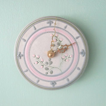 Vintage Ceramic Pottery Wall Clock // 1990s Mick Morgan Pottery // Kitchen Garden Patio Sunroom Decor