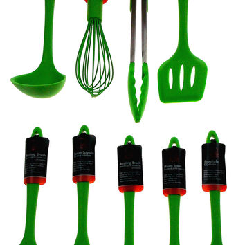 Set 9 Green Kitchen Utensil Silicone Chef Craft Tongs Wisk Basting Spoon Spatula