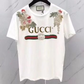 DCCKB62 GUCCI 2018 New Women's High Quality Embroidered Tops T-Shirts F-GQHY-DLSX White