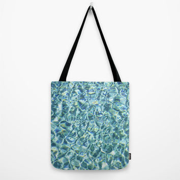 Pool Water - Tote Bag, Aqua Blue Beach Surf Fashion Tote, Boho Chic Market Shopping Tote Shoulder Arm Bag. In 9x9 13x13 16x16 18x18 Inches