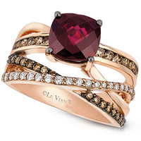 Le Vian 14k Rose Gold Ring, Raspberry Rhodolite Garnet (2-3/4 ct. t.w.) and Chocolate and White Diamond (3/4 ct. t.w.) Ring - Rings - Jewelry & Watches - Macy's
