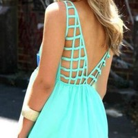 Turquoise Chiffon Dress with Cage Back and Chest