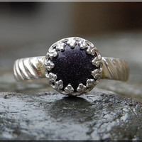 Blue Goldstone Ring, Crown Bezel Set Goldstone Ring, Sterling Silver Constellation Ring, Blue Cocktail Ring, Stacking Ring, Blue Galaxy Ring