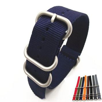 1PCS 18mm 20mm 22mm 24mm nato straps Bead Blast Stainless Steel heavy dull polish nylon strap watch bands watch straps -NS0112