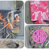 Camo or Pink Camouflage Monogram Koozie ~  Monogrammed ~ Beverage Insulator ~Camoflague