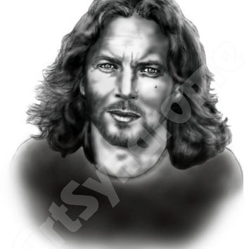 Black and white digital original drawing portrait of Seattle Grunge Icon Eddie Vedder from Pearl Jam, rock, 5x7, brushes