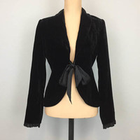Black Velvet Jacket Cocktail Jacket Formal Black Jacket Steampunk Avant Garde Cinched Waist Satin Bow Size 4 Jacket Small Womens Clothing