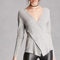 Marled Knit Surplice Top