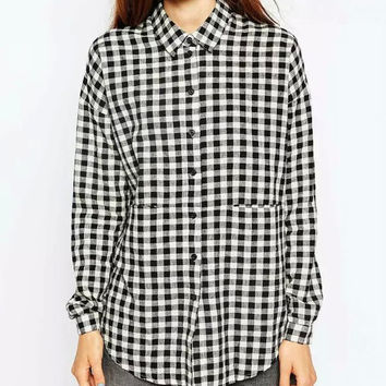Black And White Plaid Long-Sleeve Button Collared Shirt