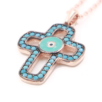 Evil Eye Necklace Cross