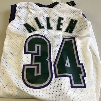 NWT MEN'S RAY ALLEN #34 RETRO MILWAUKEE BUCKS WHITE NIKE NBA SWINGMAN JERSEY