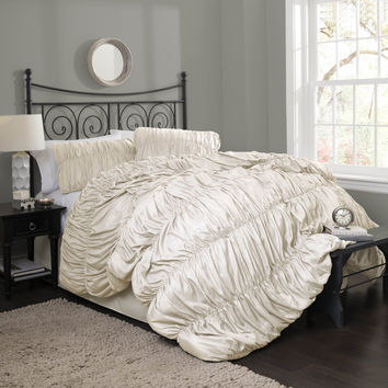 The Valencia Romantic Ruched Pleat Comforter Bedding SET
