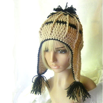 Crochet Earflap Hat Pattern No 79 Ribbed Cream by stubbornwoman