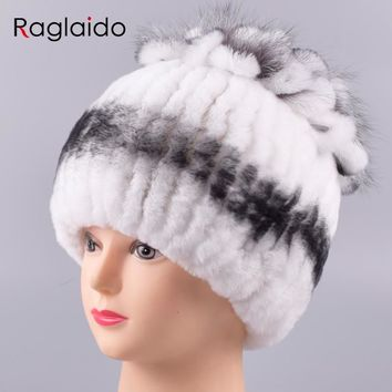 Raglaido Winter Hats for Women Real Fur Rex Rabbit Cap with fox fur decoration striped Floral Beanies Stretched Snow Hat LQ11209