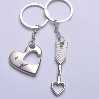 Love Heart and Arrow His and Hers Keychains