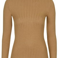 Ribbed Funnel Neck Top - Camel
