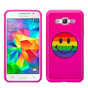 Galaxy J7 Case, Samsung Galaxy J7 [Shock Absorption /Impact Resistant] Hybrid Dual Layer Armor Defender Protective Case Cover for Galaxy J7 (Boost Mobile,Virgin,MetroPcs,TMobile), Rainbow Emoji