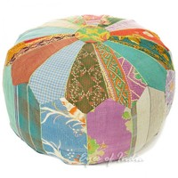 "24"" Round Pouf Ottoman Cover with Floral Kantha Embroidery"
