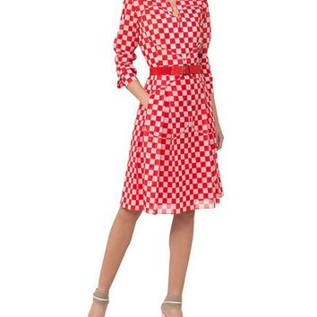 Akris Long-Sleeve Checker-Print Cotton Voile Shirtdress w/ Leather Belt