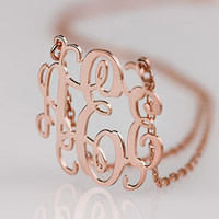 Anniversary gift monogram necklace--1.5 inch monogram jewelry-- hot selling present for valentines