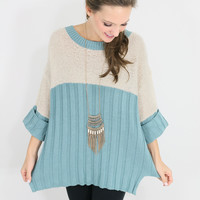 Tidal Moon Muted Blue Color Block Ribbed Scoop Neck Sweater