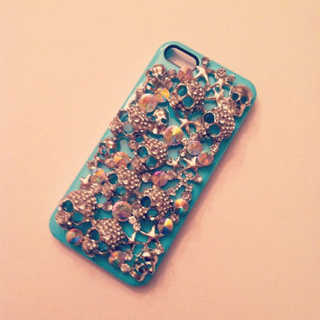 iPhone 5 Sugar Skulls Diamond Rhinestone 3D Tiffany Blue case