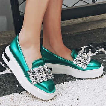 Square Toe Rhinestones flat shoes woman Big size Loafers Ladies spring platform Shoes