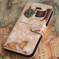 iPhone 4 Case, iphone 4s case -- world map iphone 4 case, Vintage map iphone case, pu leather iphone 4 case
