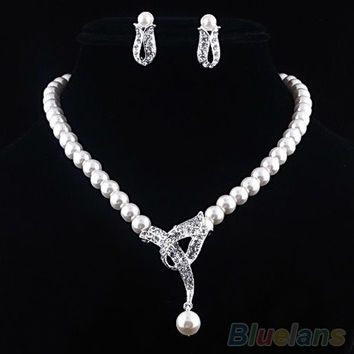 Women's Faux Pearl Crystal Choker Necklace Earrings Jewelry Set For Wedding Party (Color: White) = 1933201092