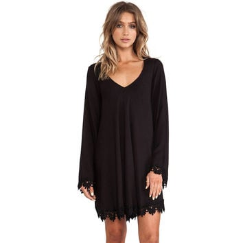 Black Lace Dress Short Skater Long Sleeve Casual Mini Dress a Line Solid Loose Dress For Wo SM6