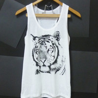 Bengal tiger tank top size S/M/L tiger shirt, animal tank top White tshirt Unisex Women shirts, Men singlet, t shirts