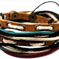 Jewelry Bangle bracelet women Leather Bracelet Girl Ropes Bracelet Men Leather Bracelet  A7