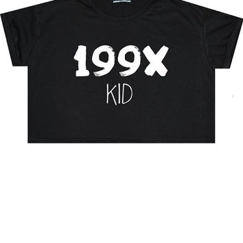 199x kid CROP TOP t shirt tee womens girl funny fun tumblr hipster swag grunge kale goth punk new retro vtg fashion boho indie 90s year age