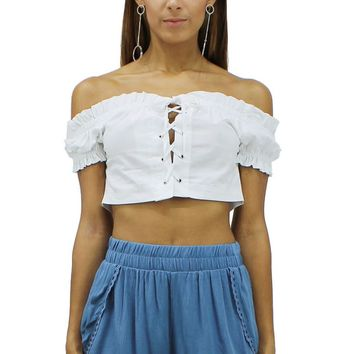 White Lace Up Off Shoulder Short Sleeves Crop Top CHO2485 DDF