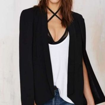 In Crowd Black Long Slit Sleeve Open Cape Blazer Jacket
