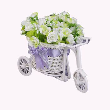 2017 Rattan Tricycle Bike Flower Basket Vase Storage Garden Wedding Party Decoration Office Bedroom Holding Candy Gift