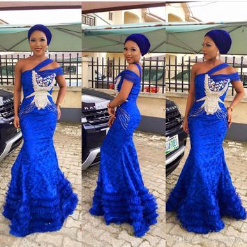 2016 Sexy Mermaid Feather Royal Blue Lace One Shoulder Evening Prom Dresses Long Cheap Elegant Formal Party Evening Gowns EF21