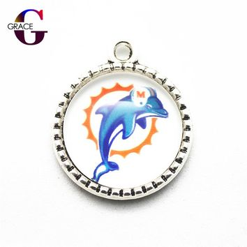 10pcs/lot Miami Dolphins Football Team Sports Hanging Dangle Charms Fit DIY Necklace Pendant Bracelet jewelry Accessory