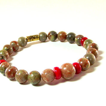 Men's Bracelet Featuring Colorful Autumn Jasper and Red Sea Coral